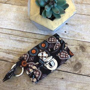 Vera Bradley Brown Quilted Keychain Wallet